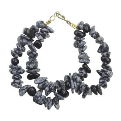 Black and Grey Speckled Agate Double Layer Beaded Bracelet