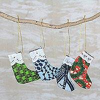 Cotton ornaments, 'Sweet Stockings' (set of 4) - Multicolor Cotton Christmas Stocking Ornaments (Set of 4)