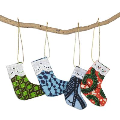 Multicolor Cotton Christmas Stocking Ornaments (Set of 4)