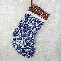 Cotton stocking, 'Holiday in Ghana' - Handcrafted Blue Cotton Christmas Stocking from Ghana