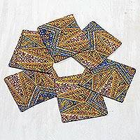 Cotton coasters, 'Zigzag Flowers' (set of 6) - Floral Cotton Coasters from Ghana (Set of 6)