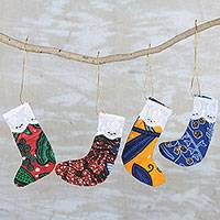 Cotton ornaments, 'Sweet Petite' (set of 4) - Colorful Cotton Christmas Mini Stocking Ornaments (Set of 4)