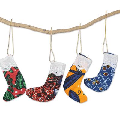 Colorful Cotton Christmas Mini Stocking Ornaments (Set of 4)