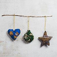 Cotton holiday ornaments, 'Worldly Joy' (set of 3) - Multicolor Cotton Holiday Ornaments from Ghana (Set of 3)