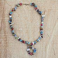 Agate beaded pendant necklace, 'Colors of Love' - Colorful Agate Beaded Pendant Necklace from Ghana