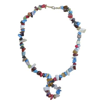 Colorful Agate Beaded Pendant Necklace from Ghana