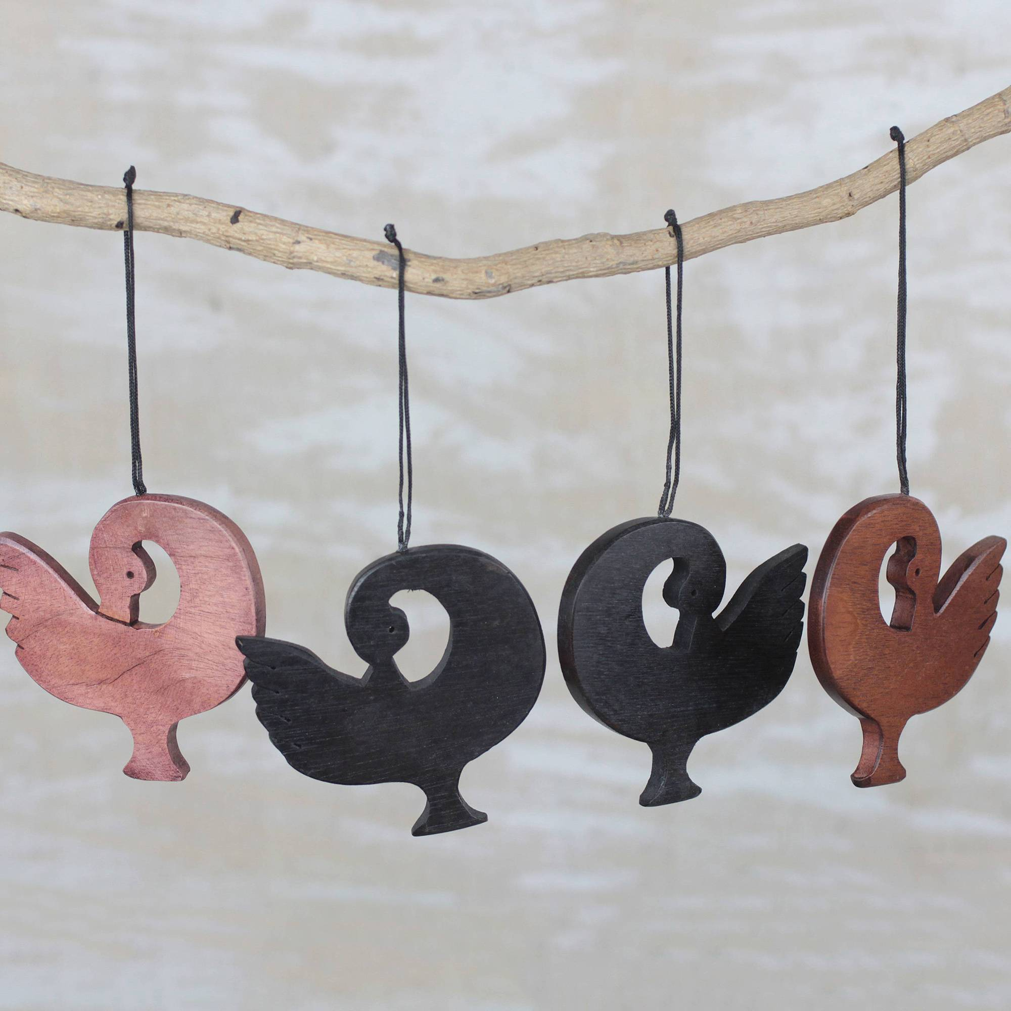 Handcrafted Ebony Wood Sankofa Ornaments (Set of 4), 'Learn from History'