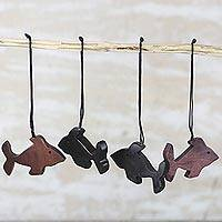 Ebony wood ornaments, 'African Fish' (set of 4) - Ebony Wood Fish Ornaments (Set of 4) from Ghana