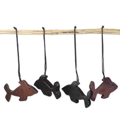 Ebony Wood Fish Ornaments (Set of 4) from Ghana