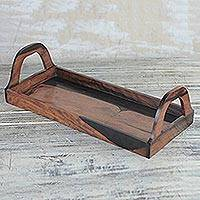 Ebony wood decorative tray, 'Sleek Elegance'