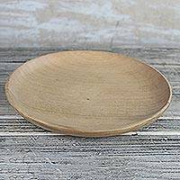 Wood decorative plate, 'Simple Homestead' - Avodire Wood Decorative Plate from Ghana