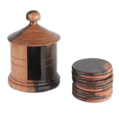 Ebony Wood Coasters and Holder from Ghana (13 Piece)