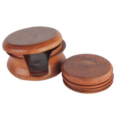 Mahogany coasters, 'Tree Rings' (set of 6) - Round Mahogany Wood Coasters and Container (Set of 6)