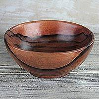 Wood decorative bowl, 'Nature's Richness' - Hand-Carved Polished Ebony Wood Decorative Bowl