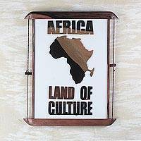 Wood wall art, 'Land of Culture' - Africa-Themed Ebony Wood Wall Art from Ghana