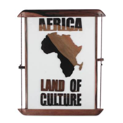 Africa-Themed Ebony Wood Wall Art from Ghana
