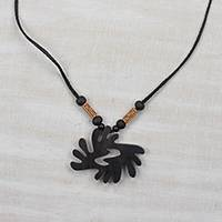 Wood pendant necklace, 'Beautiful Bi Nka Bi' - Adinkra Bi Nka Bi Sese Wood Pendant Necklace from Ghana