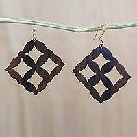 Ebony wood dangle earrings, 'Eban Diamonds' - Square Motif Ebony Wood Dangle Earrings from Ghana