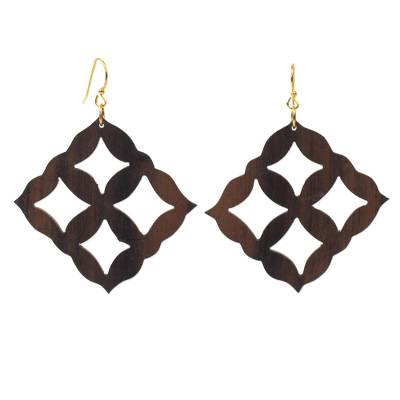 Ebony wood dangle earrings, 'Eban Diamonds' - Square Motif Ebony Wood Dangle Earrings from Ghana