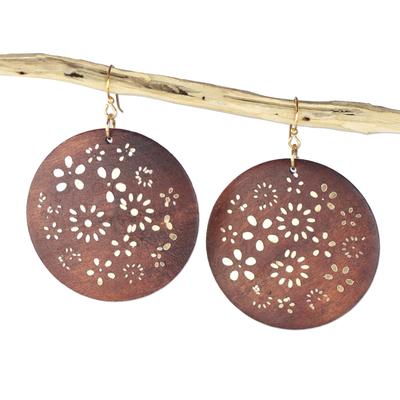 Ebony wood dangle earrings, 'Bountiful Garden' - Handcrafted Ebony Wood and Brass Floral Dangle Earrings