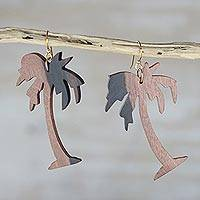 Ebony wood dangle earrings, 'Coconut Tree' - Handcrafted Ebony Wood Coconut Tree Dangle Earrings