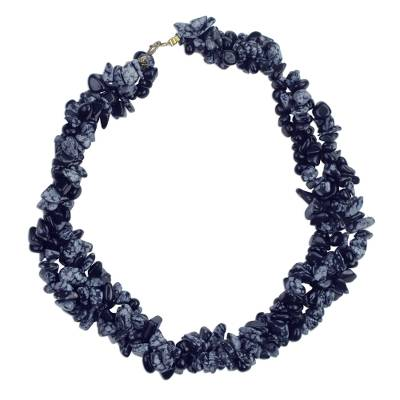 Agate beaded torsade necklace,
