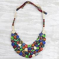 Cotton statement necklace, 'Everlasting Friendship' - Cotton Button Eclectic Adjustable Statement Necklace