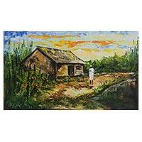 'Contentment' - Impressionist Painting of an African House from Ghana