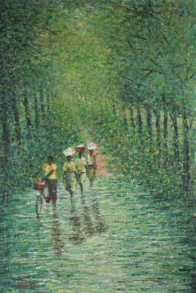 'Stream in the Woods' - Impressionist Painting of a Stream in the Woods from Ghana