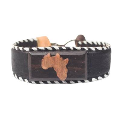Wood and leather pendant bracelet, 'African Celebration' - Sese Wood and Leather Pendant Bracelet from Ghana