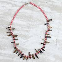 Tiger's eye beaded necklace, 'Agyenkwa' - Tiger's Eye Recycled Plastic Beaded Statement Necklace