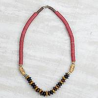 Wood and recycled plastic beaded necklace, 'Boho Africa' - Wood and Recycled Plastic Beaded Necklace from Ghana