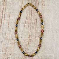 Recycled glass and wood beaded necklace, 'Adom Delight' - Recycled Glass Wood and Plastic Necklace from Ghana