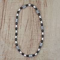 Recycled glass beaded necklace, 'Alewa Beauty' - Black and White Recycled Glass and Plastic Necklace