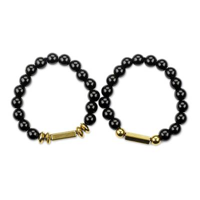 Artisan Crafted Black Recycled Glass Beaded Stretch Bracelets Pair