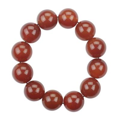 Cinnamon Brown Agate Beaded Stretch Bracelet