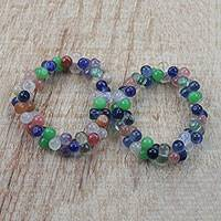 Recycled bead stretch bracelets, 'Gleeful' (pair) - Multi-Color Recycled Bead Stretch Bracelets (Pair)