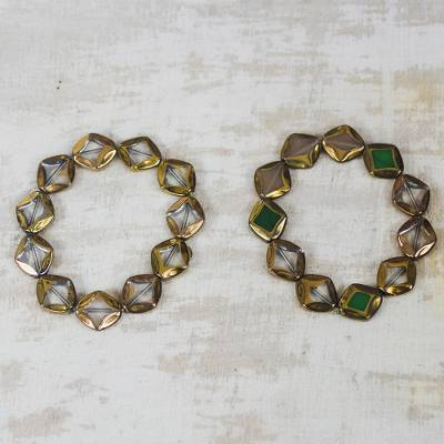 Recycled glass beaded stretch bracelets, Droplets of Honey (pair)