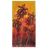 'The Hunter' - Expressionist Painting of a Hunter Among Palm Trees