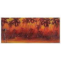 'Back Home' - Signed Landscape Painting of a Person Among Palms