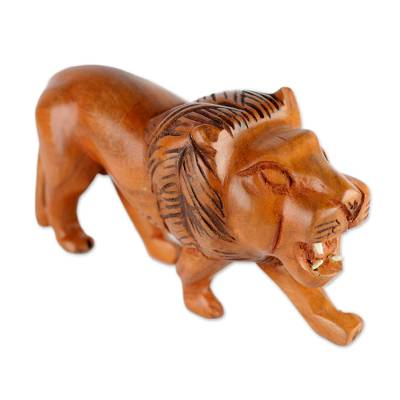Sese Wood Sculpture of a Lion from Ghana
