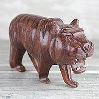 Wood sculpture, 'Roaring Tiger' - Hand-Carved Roaring Striped Tiger Sese Wood Sculpture