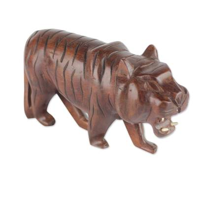 Hand-Carved Roaring Striped Tiger Sese Wood Sculpture