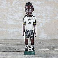Wood statuette, 'Footballer' - Hand Carved and Painted Football-Soccer Player Wood Statuete