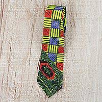 Cotton tie, 'Cultural Africa' - Cotton Tie with Colorful Motifs from Ghana