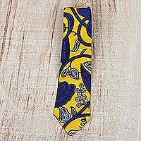 Cotton necktie, 'Flower Vine' - Floral Cotton Necktie Crafted in Ghana