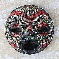 African beaded wood mask, 'Hypnotic Charm' - Colorful Recycled Glass Bead and Sese Wood African Mask