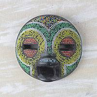 African beaded wood mask, 'Rainbow Welcome' - Rainbow Welcome Recycled Glass Bead African Mask