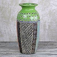 Wood vase, 'Green Ghanaian Flowers' - Hand-Painted Sese Wood Vase in Green from Ghana