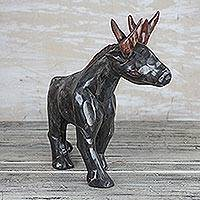 Wood sculpture, 'Strolling Deer' - Hand Carved Black Strolling Deer Wood Sculpture from Ghana